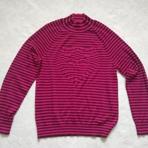 G/FORE Cashmere pink rose intarsia heart center